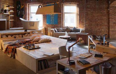 Дизайн гостиной в стиле Лофт — фото